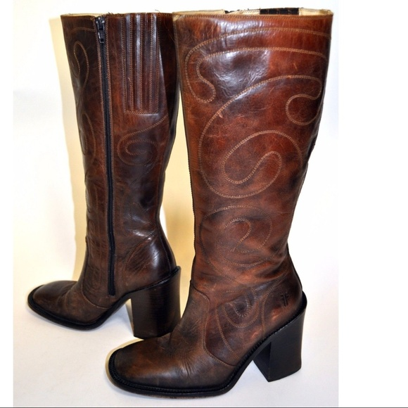Frye Shoes - Frye Conrad Stitched Brown Leather boots Sz 6B